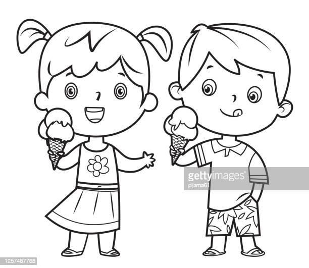 kinder essen eis - ausmalen stock-grafiken, -clipart, -cartoons und -symbole