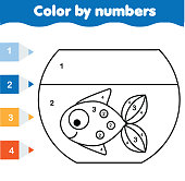 Children educational game. Coloring page with fish in aquarium. Color by numbers, printable activity