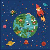 children explorer love  space and world