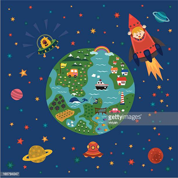 illustrations, cliparts, dessins animés et icônes de les enfants adorent l'espace et des explorateurs - image clipart