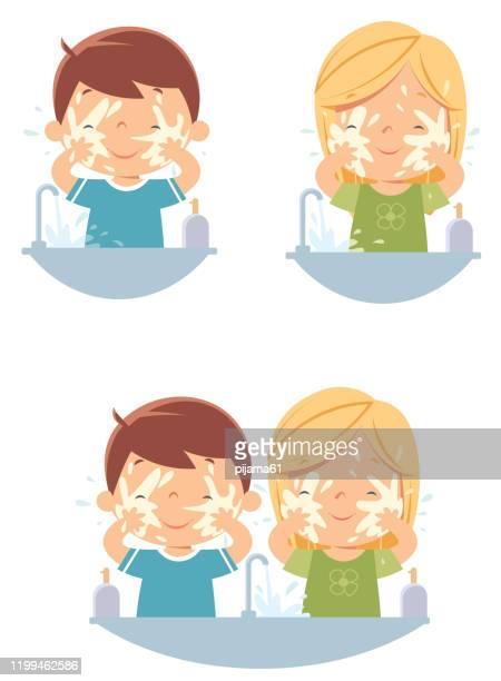 ilustraciones, imágenes clip art, dibujos animados e iconos de stock de lavado de cara de niños - habitos de higiene