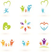 Children, family, community and protection icons & symbols