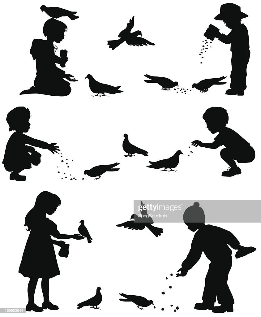 Children Feeding Birds