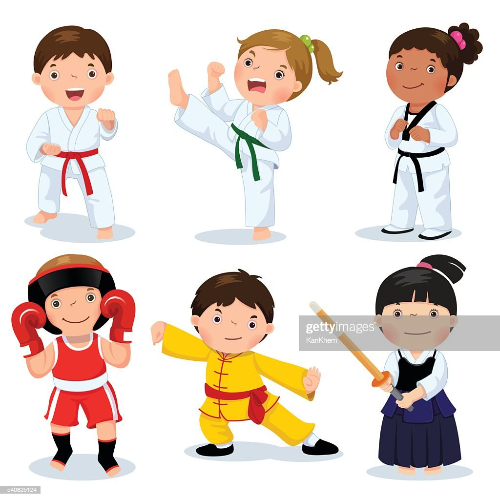 Children fighting, judo, taekwondo, karate, kung fu, boxing, kendo