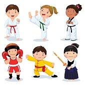 Children fighting, judo, taekwondo, karate, kung fu, boxing, kendo