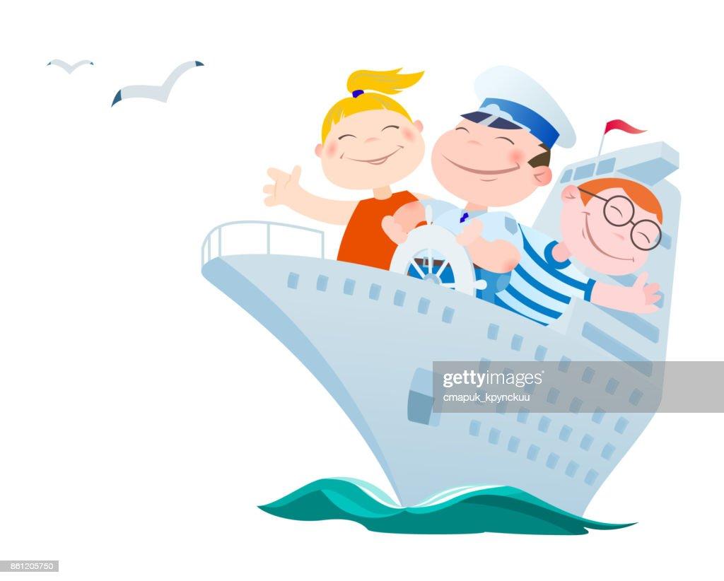 Children float by the ocean liner