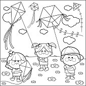 Children flying kites coloring book page.