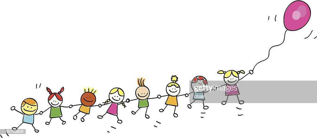 children flying with balloons cartoon illustration