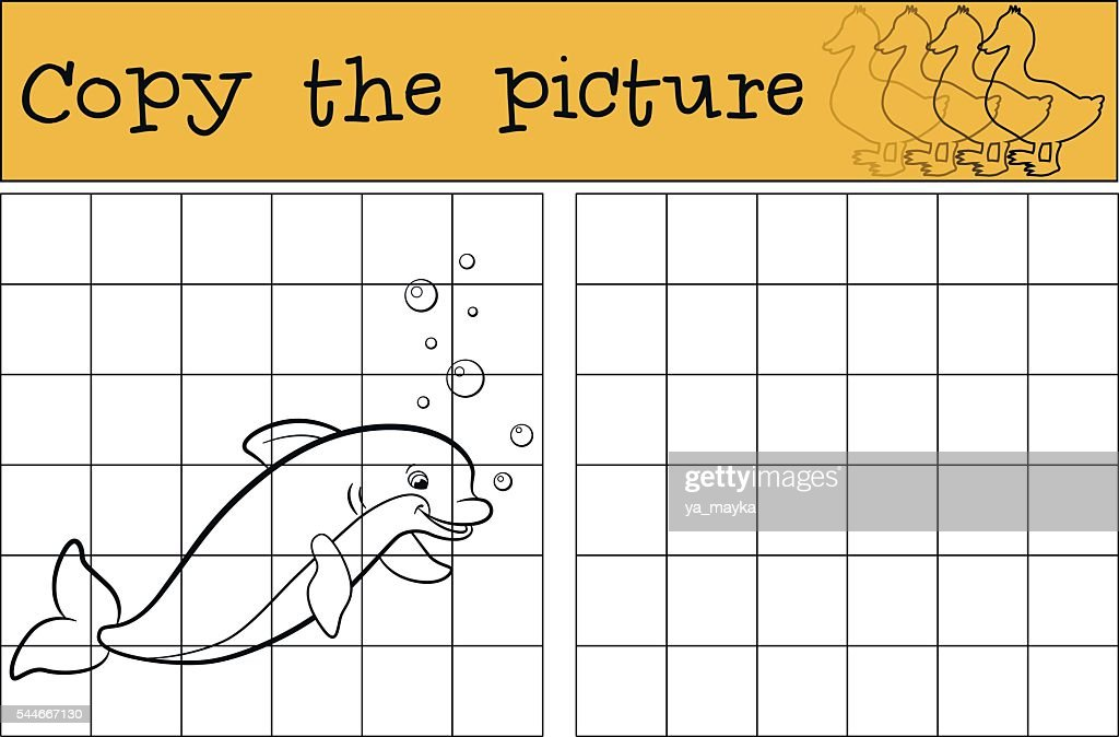 Children games: Copy the picture. Little cute dolphin smiles.