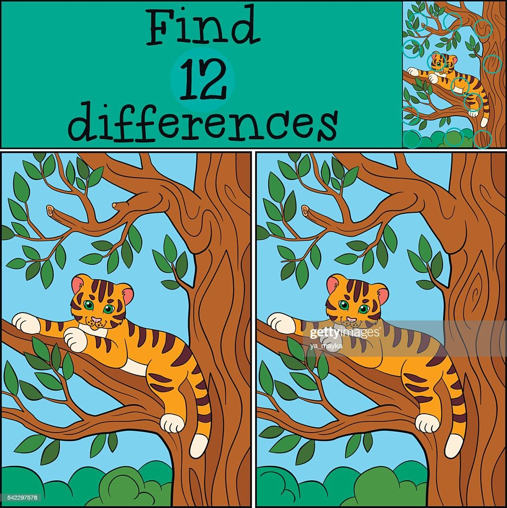 Children games: Find differences. Little cute baby tiger