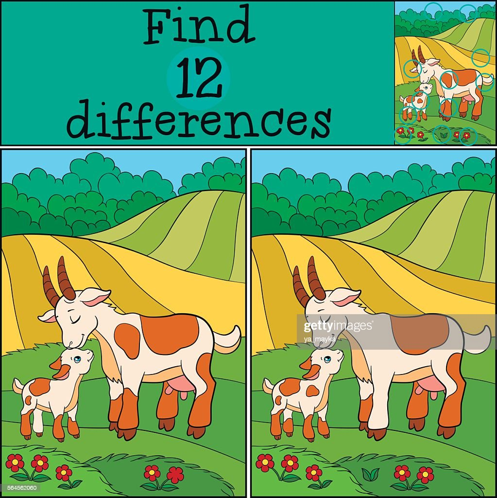 Children games: Find differences. Mother goat with her baby.