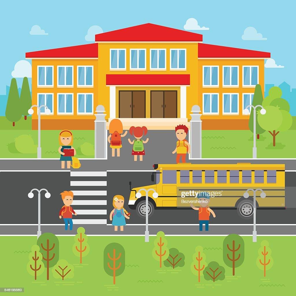 Children go back to school vector flat illustration.
