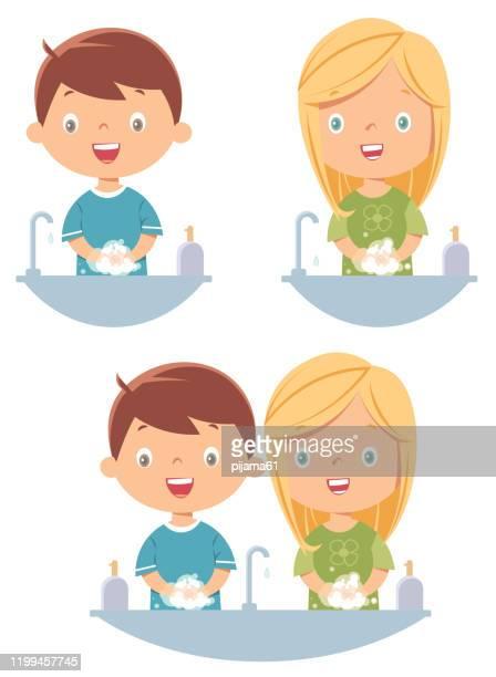 ilustraciones, imágenes clip art, dibujos animados e iconos de stock de lavado de manos de los niños - habitos de higiene