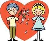 children heart and flower