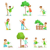 Children Helping In Eco-Friendly Gardening, Collecting