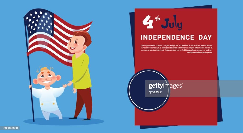 Children Hold United States Flag Independence Day Holiday 4 July Banner Greeting Card