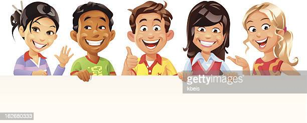 children holding a blank sign - adolescence stock illustrations