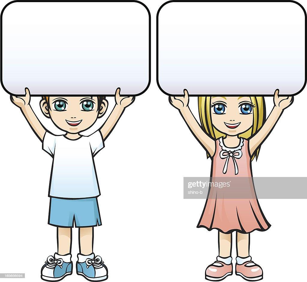 Children holding a board