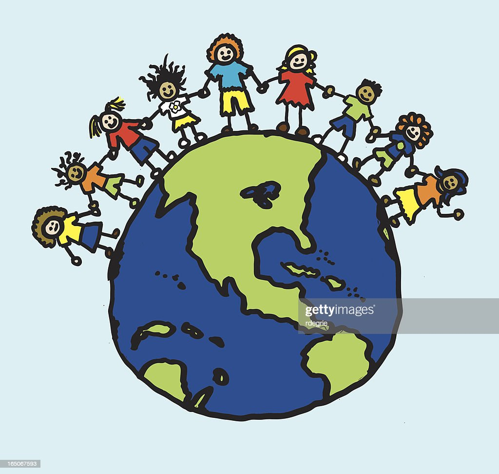 Children Holding Hands Around World Vector Art Getty Images