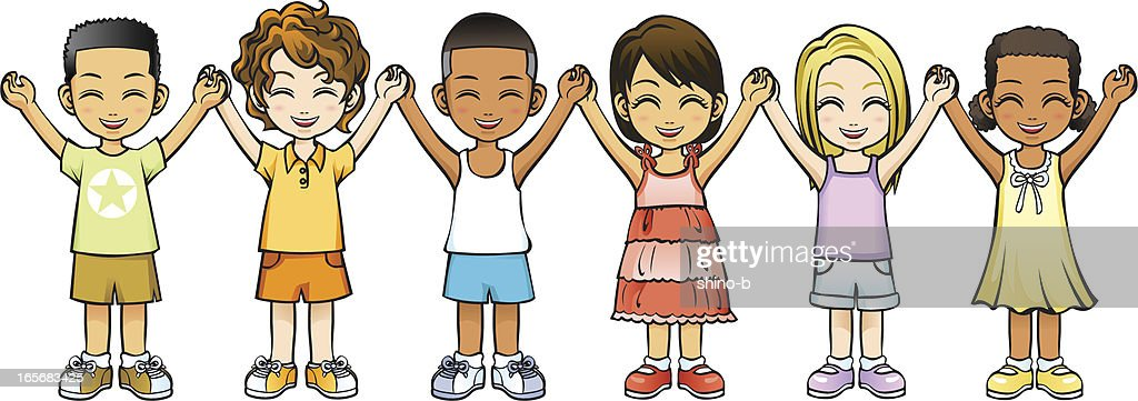 Children holding hands up happily