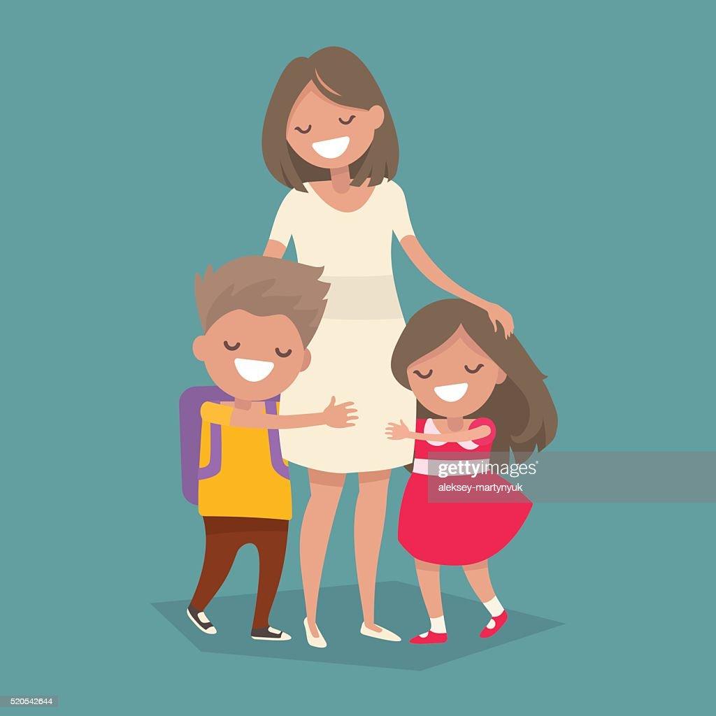 Children hugging her mother. Vector illustration