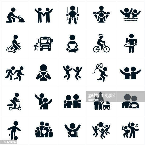children icons - team sport stock illustrations