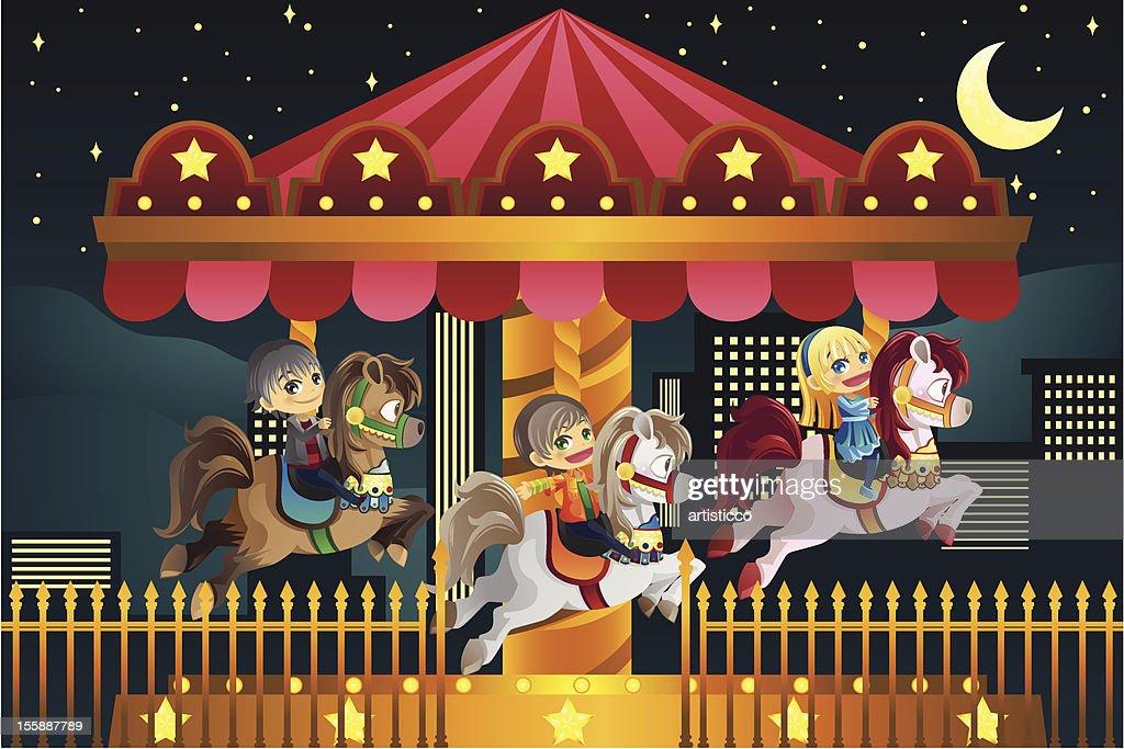 Children in amusement park