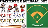 Children in baseball team and field