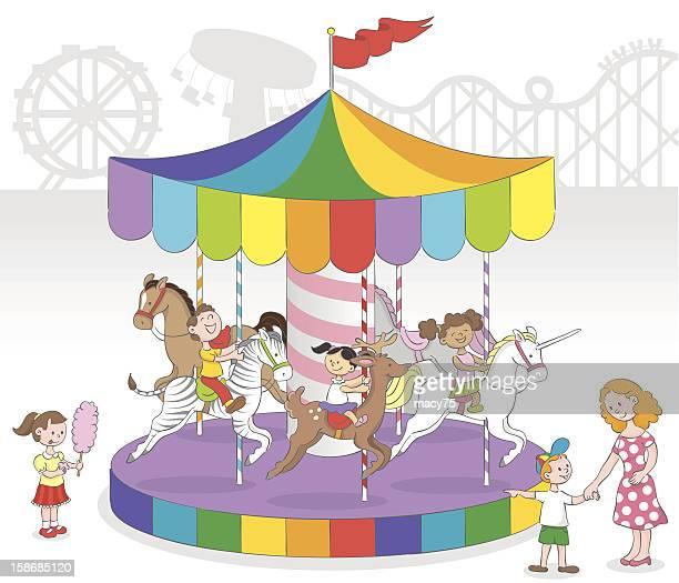 ilustraciones, imágenes clip art, dibujos animados e iconos de stock de niños en carrusel - caballitos del tiovivo