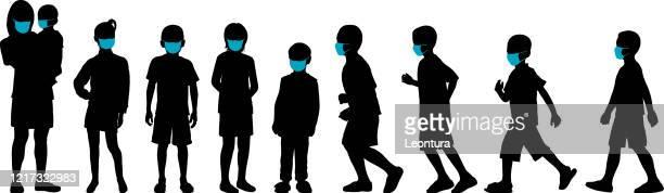 children in masks - clip art family stock illustrations