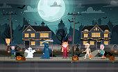 Children in monster costumes