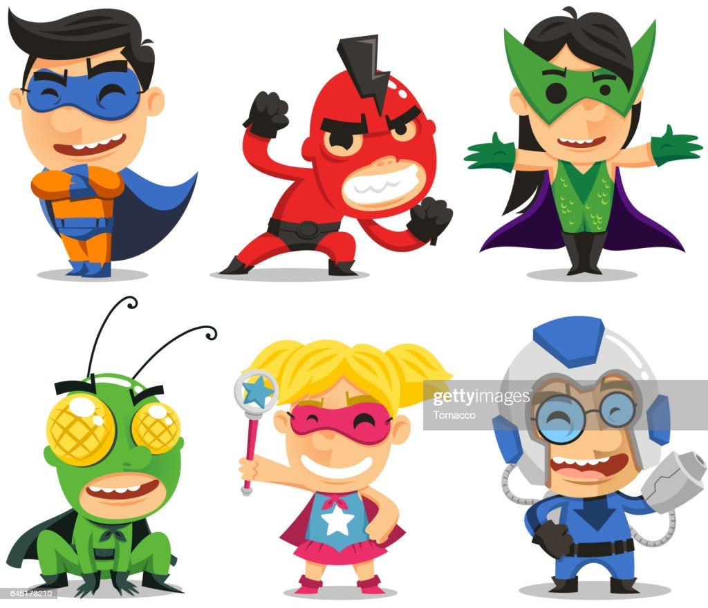 children in superhero costumes