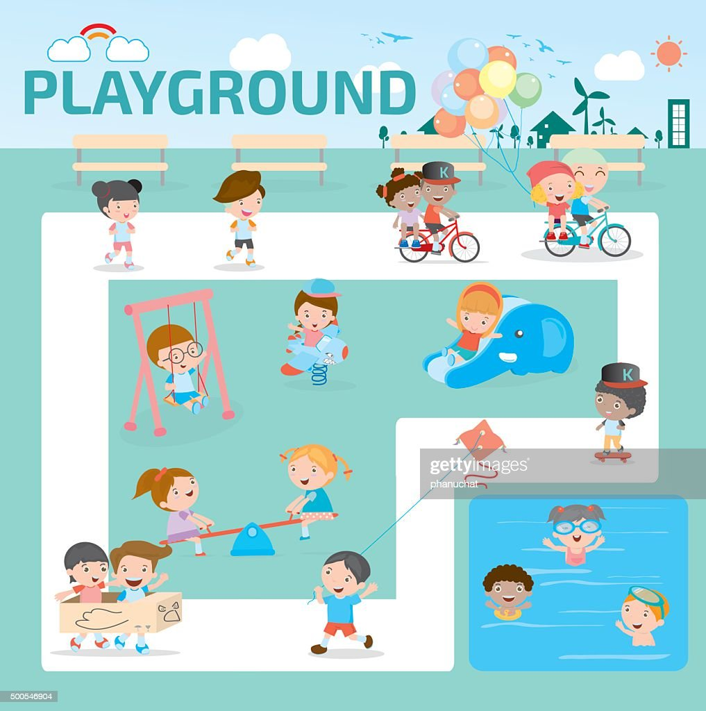 children in the playground infographic elements flat design illustration