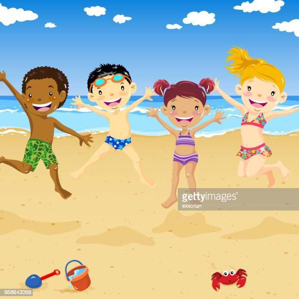 kinder springen auf dem sandstrand - mariner lebensraum stock-grafiken, -clipart, -cartoons und -symbole