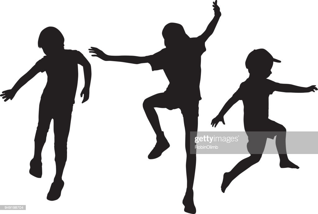 Children Jumping Silhouettes