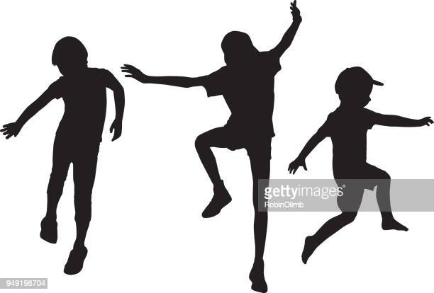 children jumping silhouettes - jumping stock illustrations