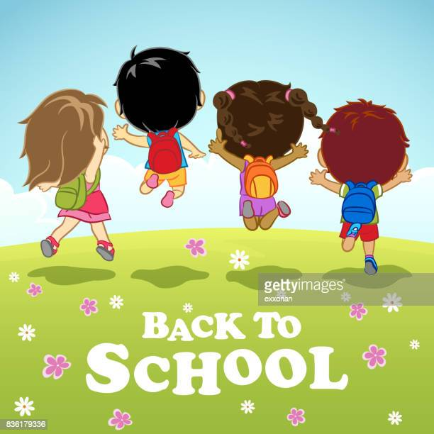 children jumping to school - natural parkland stock illustrations, clip art, cartoons, & icons