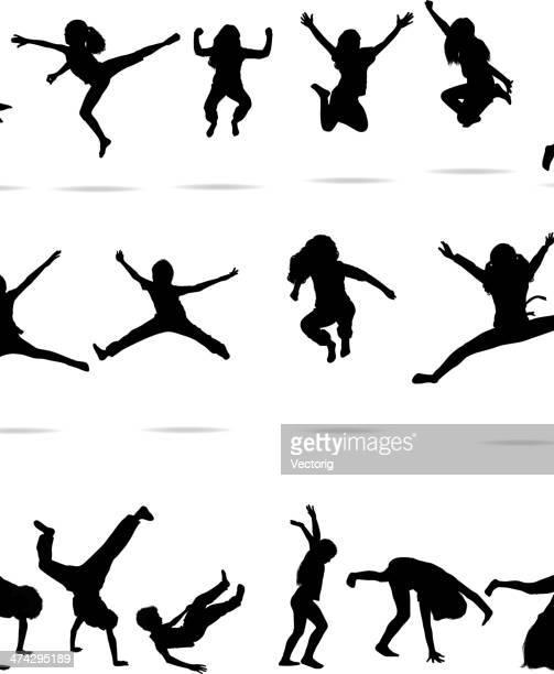 ilustraciones, imágenes clip art, dibujos animados e iconos de stock de niños de salto - salto de longitud
