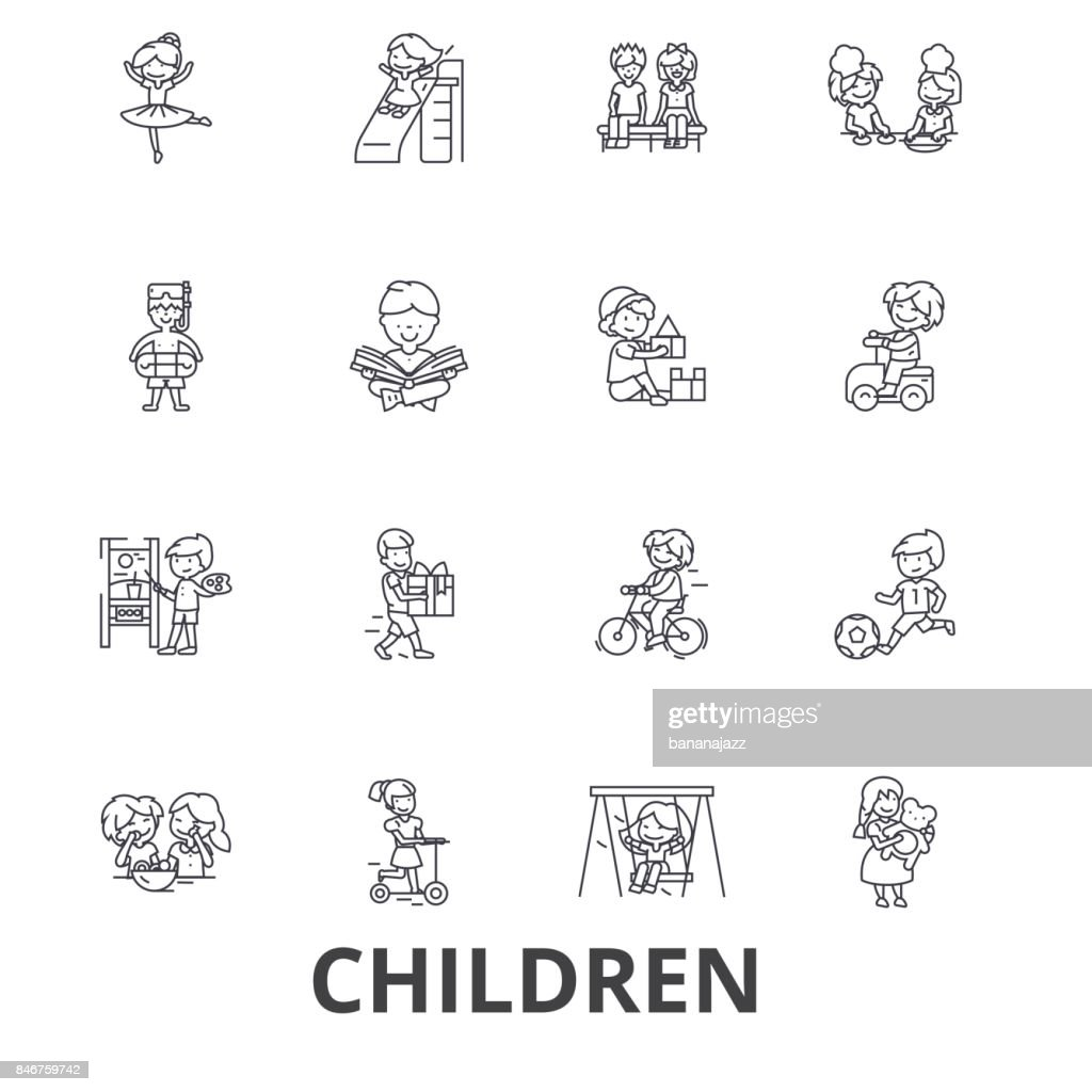 Children, kids, playing, baby, family, happy, girl, boy, teenager, playground line icons. Editable strokes. Flat design vector illustration symbol concept. Linear signs isolated