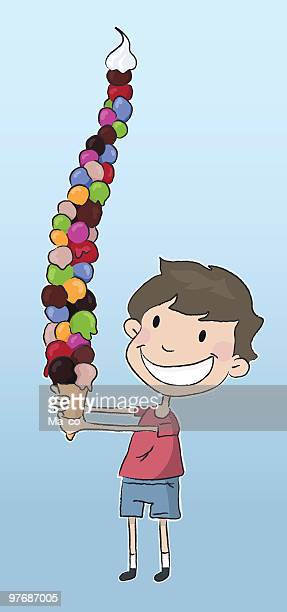 children like ice cream - tower stock illustrations