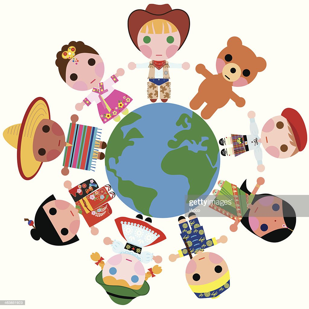 Children of the world on a Globe