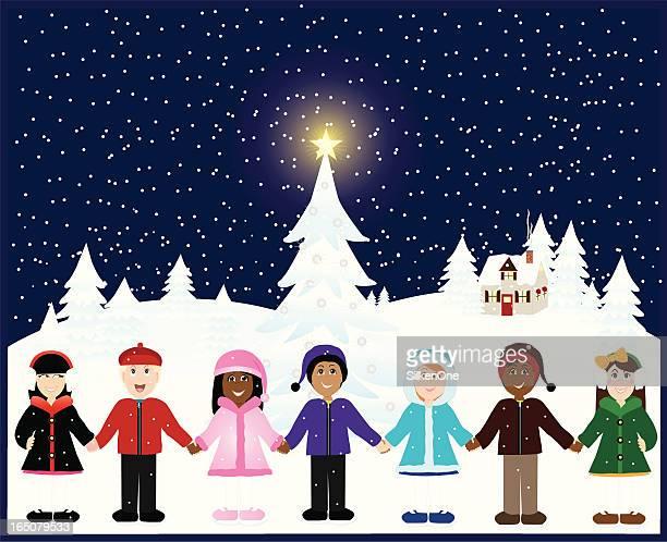 children of the world - winter coat stock illustrations