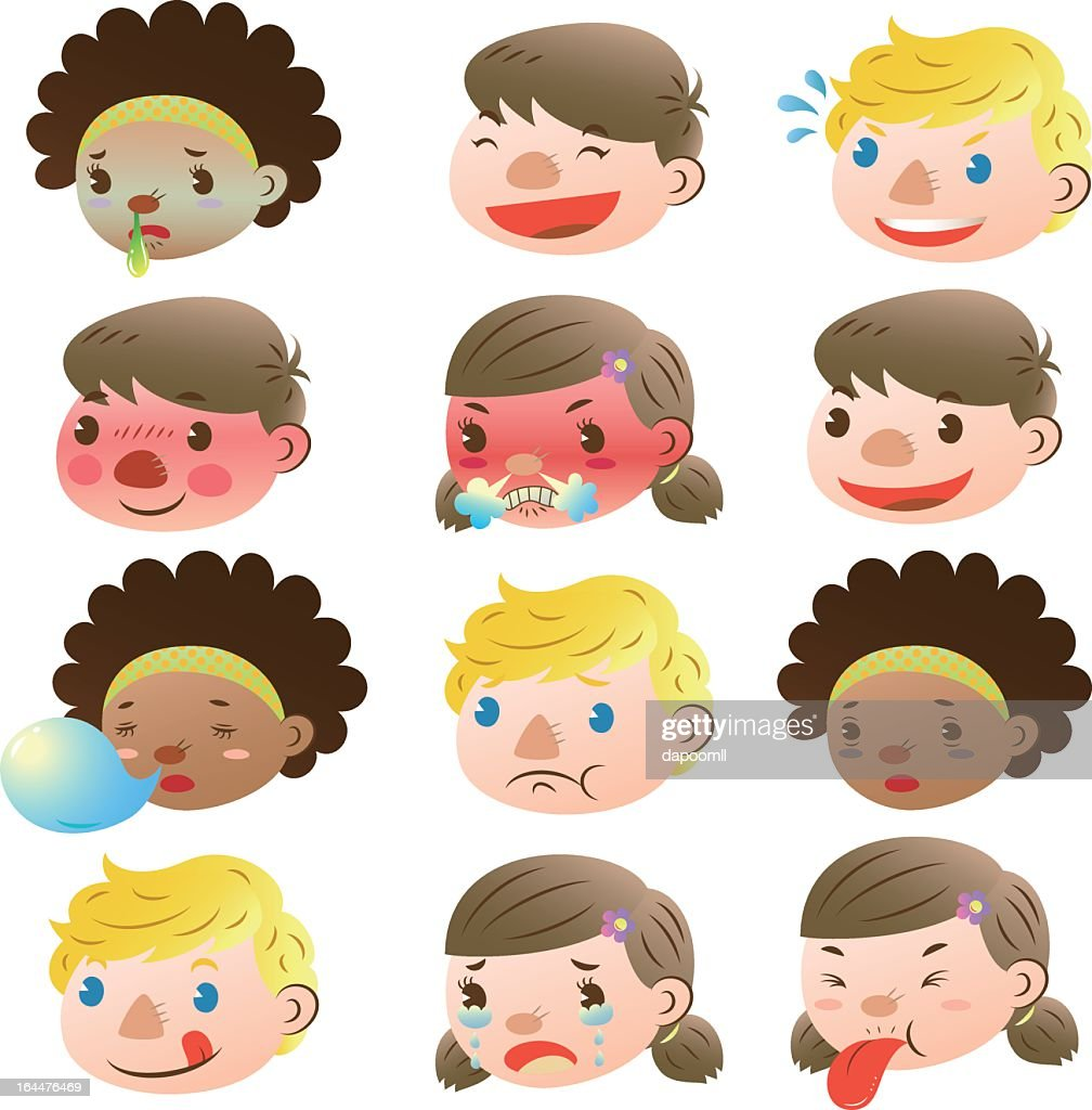 Children of various facial expressions