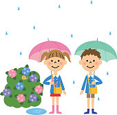 Children on a rainy day