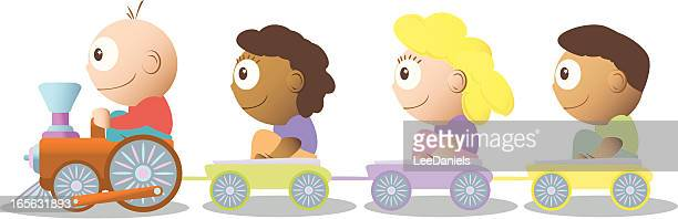 children on a toy train - miniature train stock illustrations, clip art, cartoons, & icons