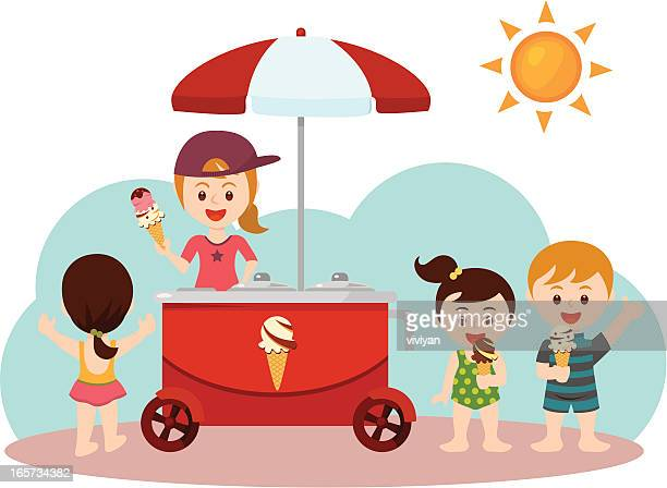 children on the beach with a ice cream stroller - ice cream stock illustrations, clip art, cartoons, & icons
