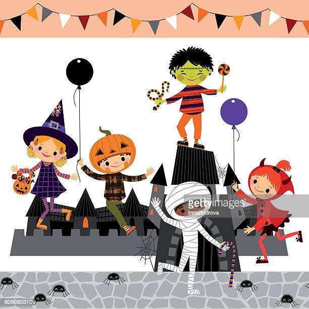 Children on the Halloween playground.