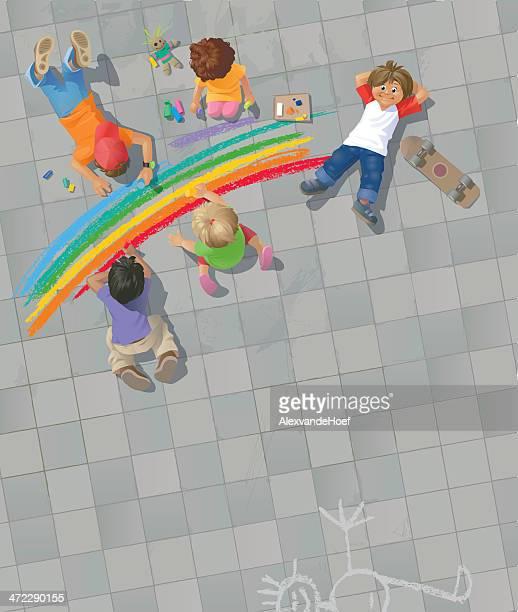 虹のお子様には、通りの絵画