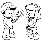 Children painting with a paint brush. Black and white coloring book page