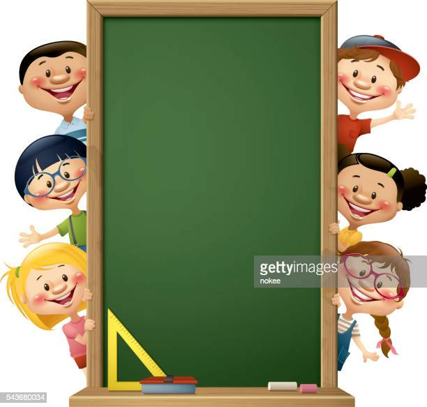 children peeking behind blackboard